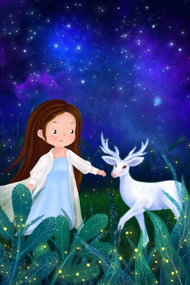 hand drawn illustration midsummer night starry sky night, Girl, White Deer, Grassland illustration image