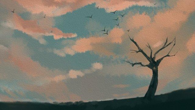손으로 그려진 된 스타일 저녁 풍경 하늘 삽화 소재 삽화 이미지