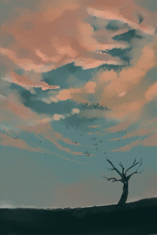 손으로 그려진 된 스타일 저녁 풍경 하늘 삽화 소재