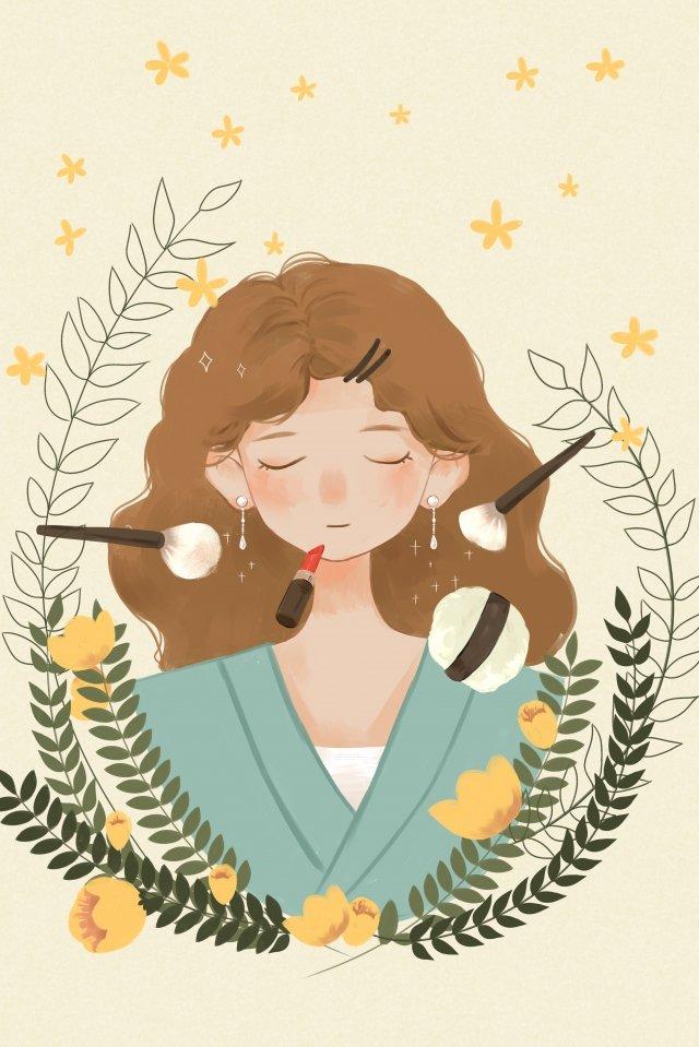 hand drawn style fresh make up girl llustration image illustration image