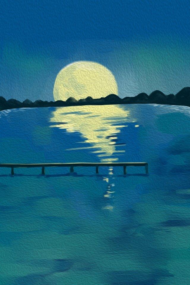 手描きスタイル風景海月 イラスト素材