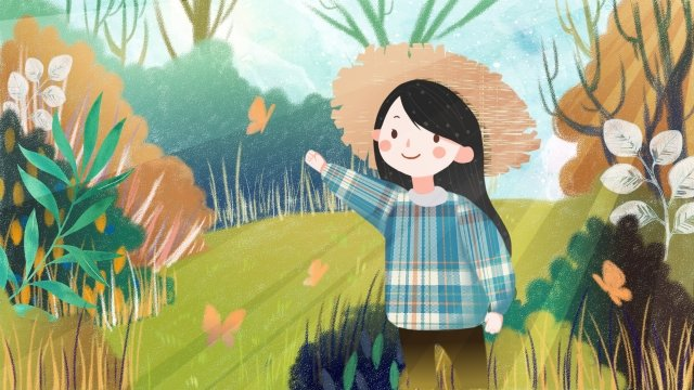 風のお出かけを集める手描きスタイル春 イラストレーション画像