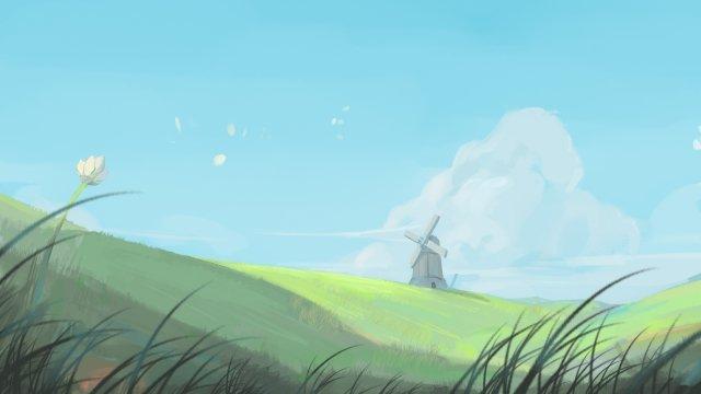手描きスタイル春草原グリーン イラストレーション画像 イラスト画像