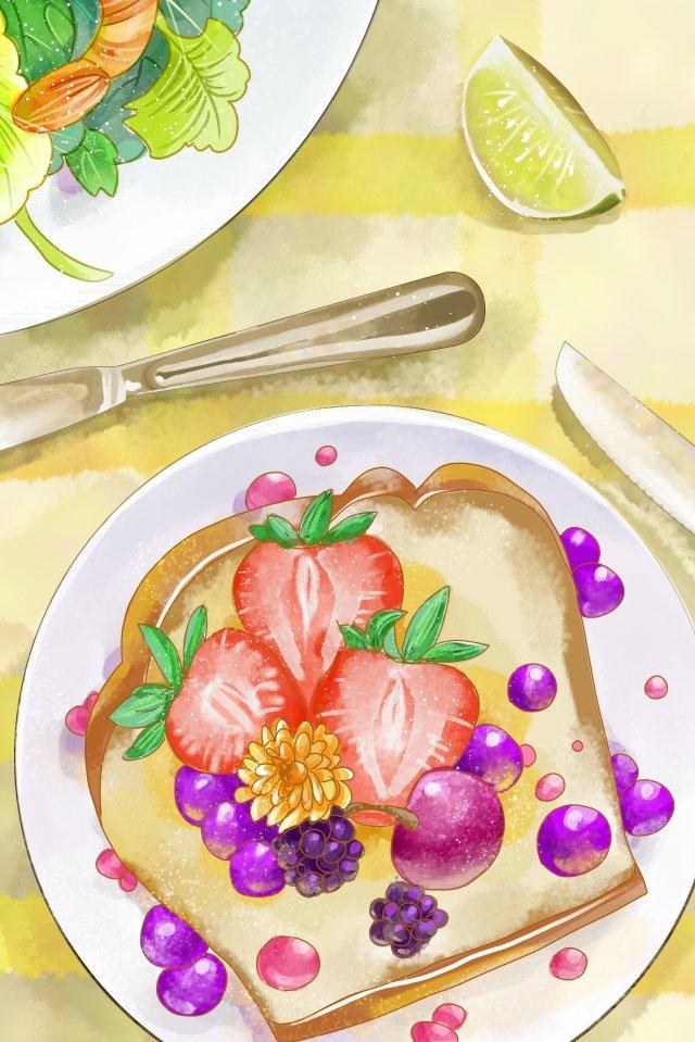 手繪風格水彩風格西餐水果 插畫素材 插畫圖片