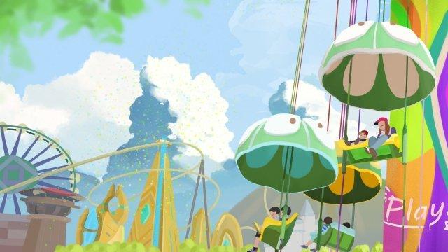 手描きの遊園地プレイゲーム イラスト素材 イラスト画像