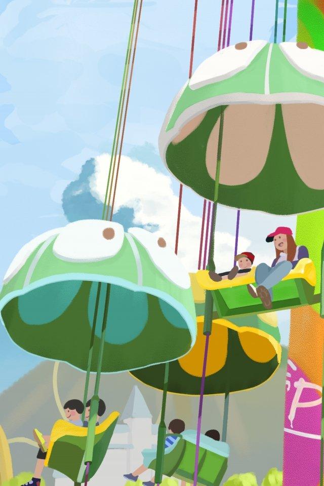手描きの遊園地遊び遊び イラスト素材 イラスト画像