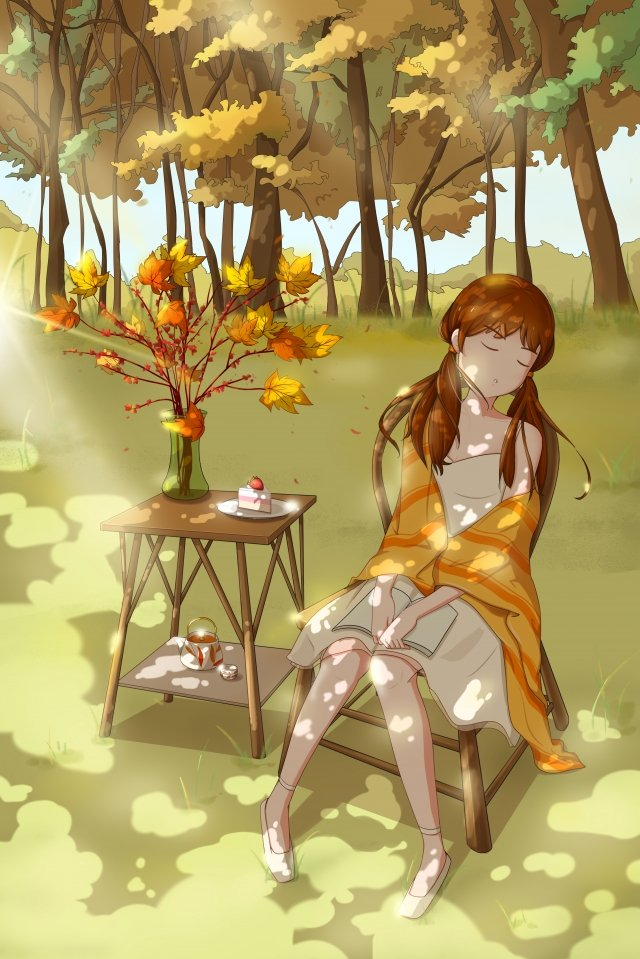 hand painted autumn sunset leaves character landscape llustration image