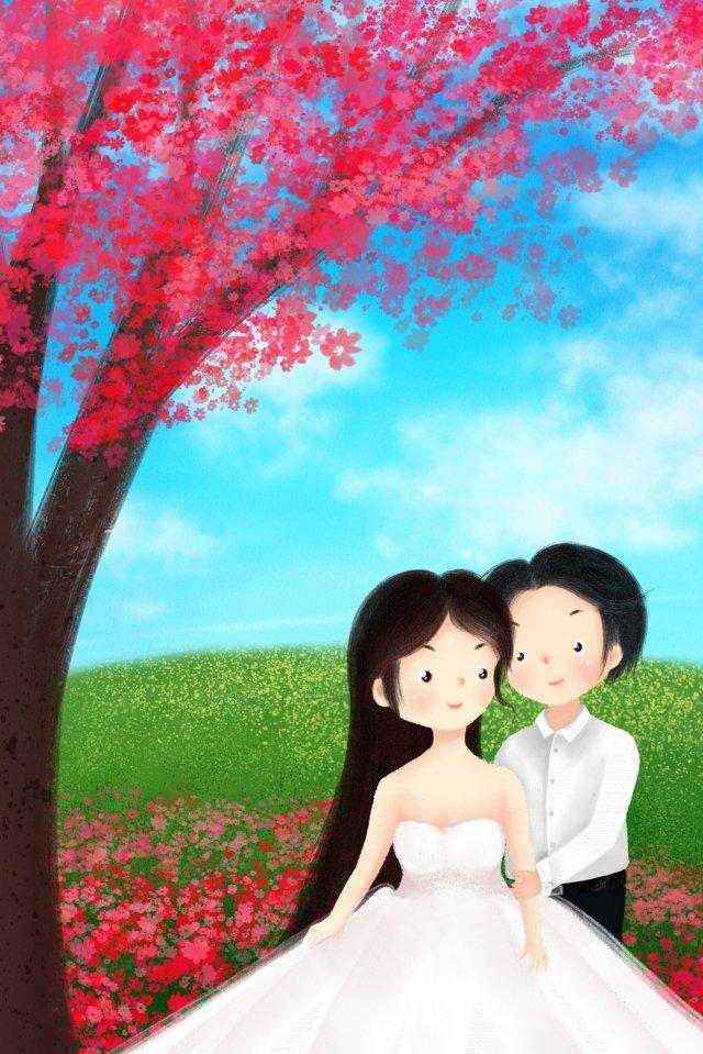 손으로 그린 벚꽃 일러스트 초원 삽화 소재