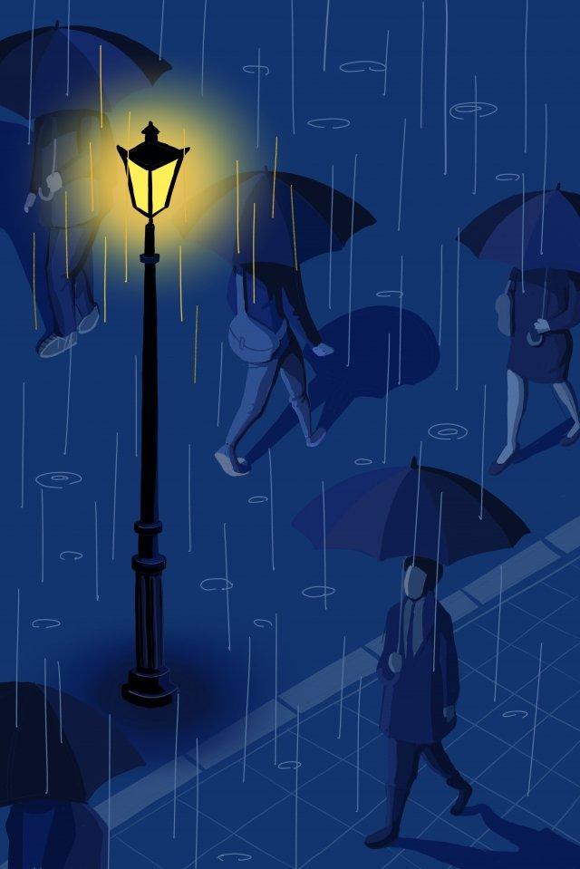 vẽ tay cảm xúc thành phố mưa Hình minh họa