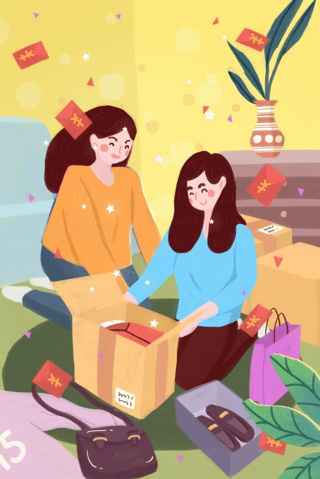 hand painted express delivery package red envelope llustration image