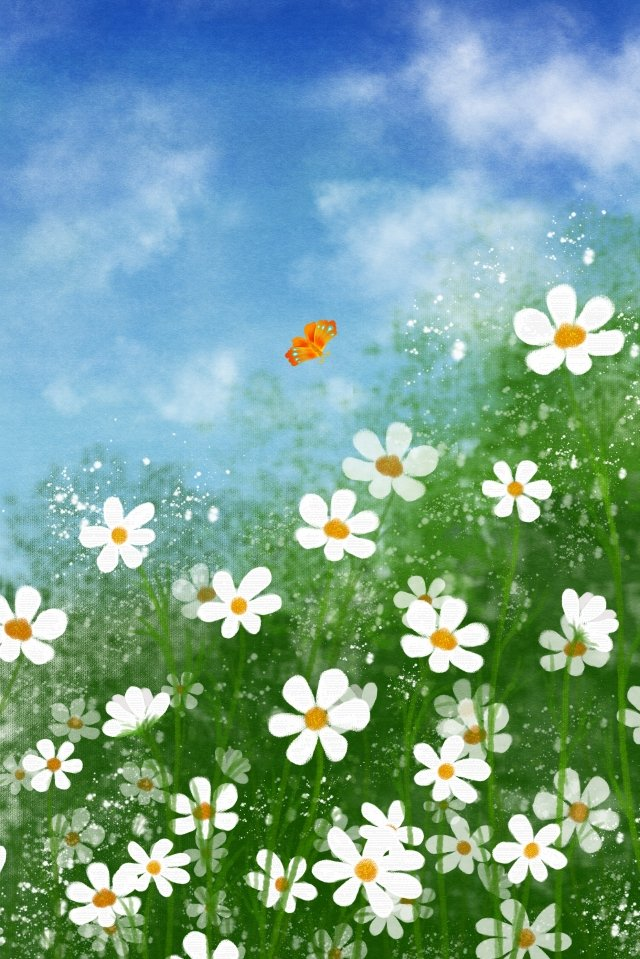 hand painted flower small wildflower illustration, Plant, Flowers, Butterfly illustration image