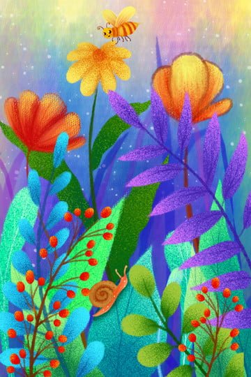 hand painted flowers illustration plant, Little Bee, Flowers, Leaf illustration image
