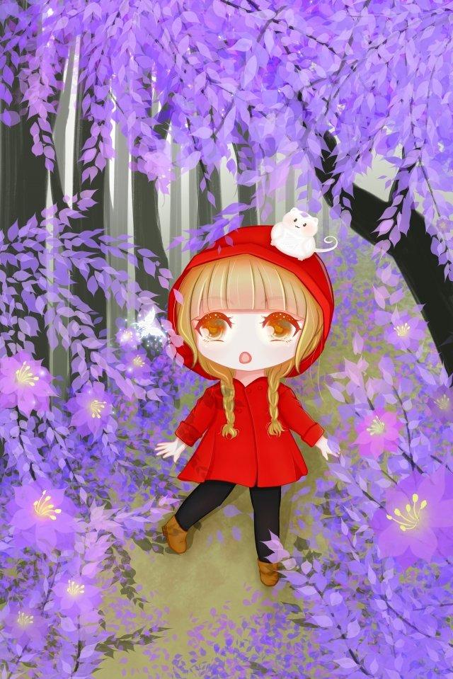 हाथ चित्रित वन छोटी लड़की लाल पोशाक चित्रण छवि