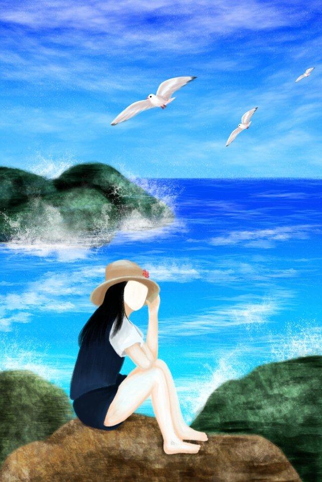 ilustração jogo à beira mar do marMenina  Mar  Pedra PNG E PSD illustration image