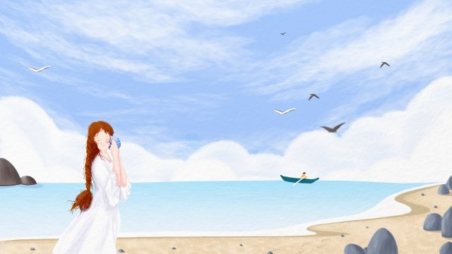 hand painted girl listening to the sea conch, Ocean, Sea, Beach illustration image