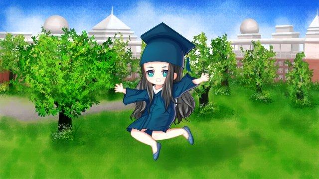 hand painted graduation season illustration campus, Grassland, Trees, Greening illustration image