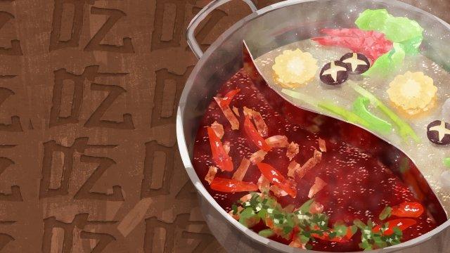 ручная роспись горячей пищи Ресурсы иллюстрации
