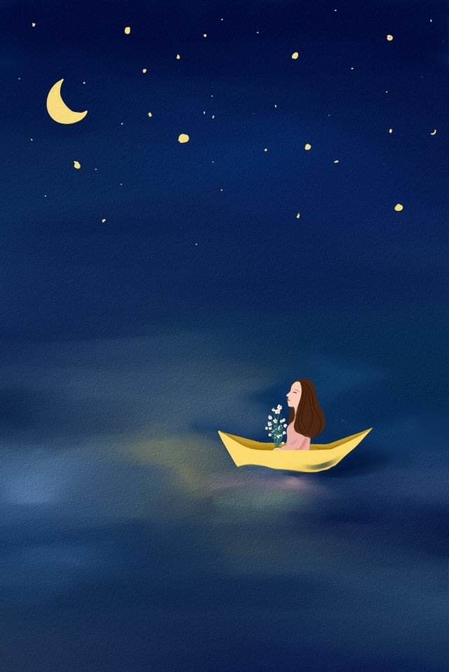 hand painted illustration blue starry sky, Sea, River, Boat illustration image
