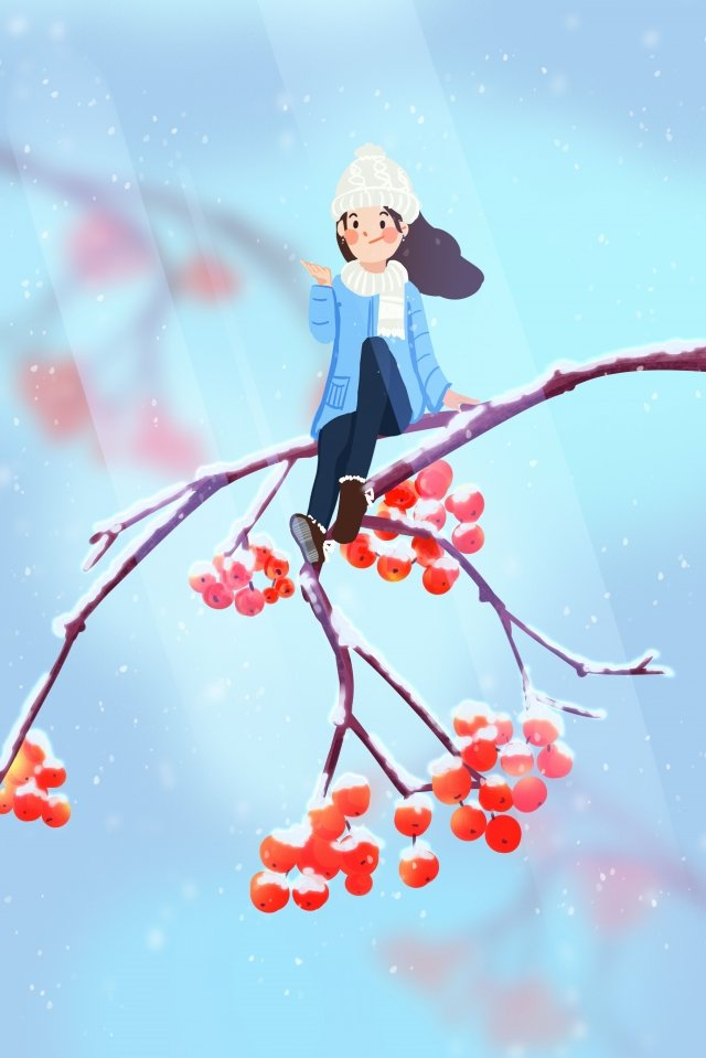 hand painted illustration blue winter, Light Snow, Heavy Snow, Osamu illustration image