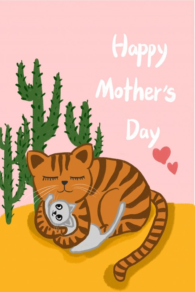 hand painted illustration cat mother, Baby Care, Young Child, Lovely illustration image