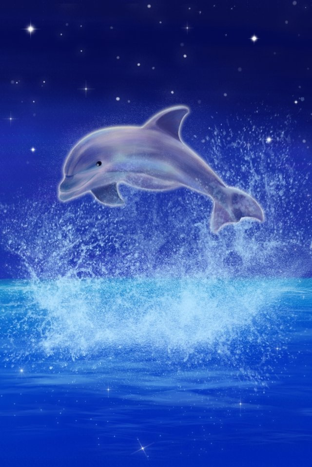 hand painted illustration dolphin star, Sea, Sky, Ocean illustration image
