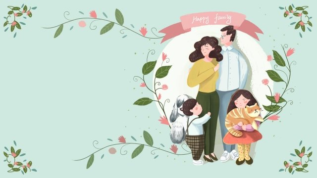 hand painted illustration family parent-child, Family Day, Warm, Harmonious illustration image