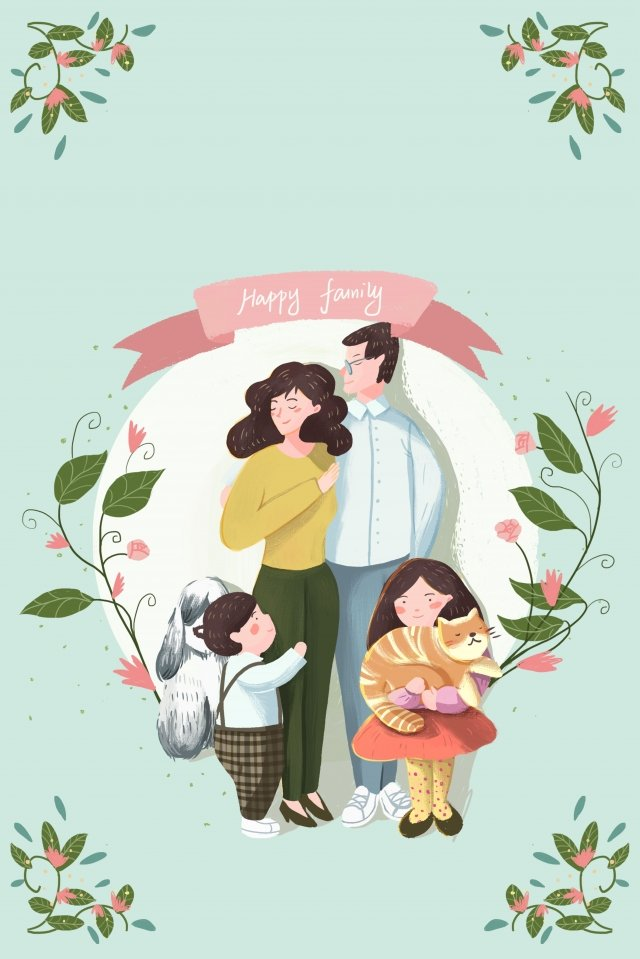 hand painted illustration family parent-child, Warm, Harmonious, Parents illustration image