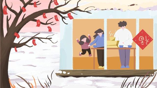 hand painted illustration family parents, Child, Family, Warm illustration image