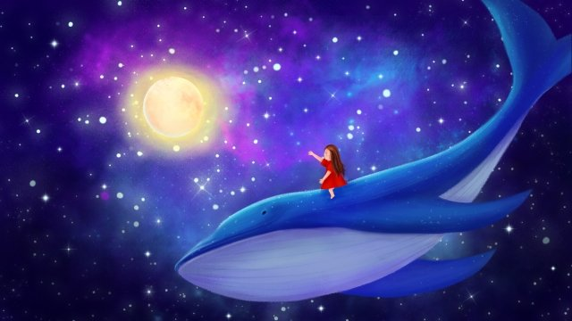hand painted illustration fantasy starry sky girl llustration image