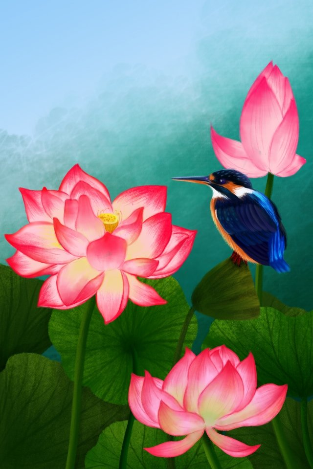 hand painted illustration flowers plant, Lotus, Kingfisher, Hand Painted Flower illustration image