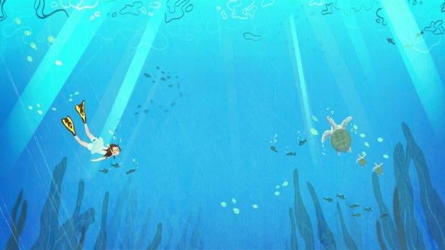 hand painted illustration fresh literary, Summer, Swim, Snorkeling illustration image