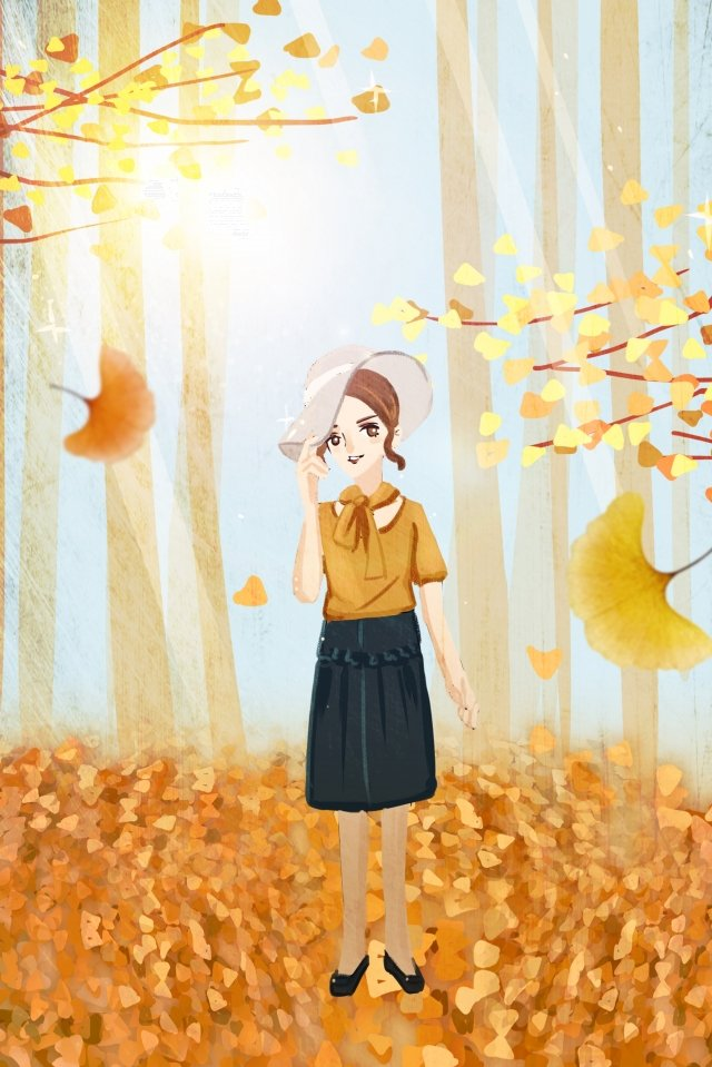 hand painted illustration girl fall, Beginning Of Autumn, Autumnal, Ginkgo illustration image