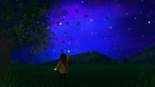 hand painted illustration girl night, Starry Sky, Grassland, Hill illustration image