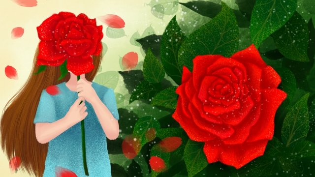 hand painted illustration girl rose, Flowers, Plant, Flower illustration image