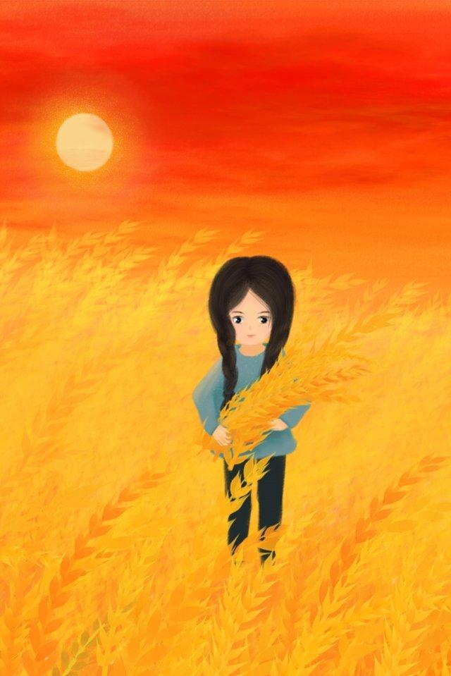 手描きイラストゴールデン小麦畑空、太陽、小麦、女の子、収穫、食品、報酬、小麦の収穫、手描き、イラスト、黄金、小麦畑 PNGおよびPSD illustration image