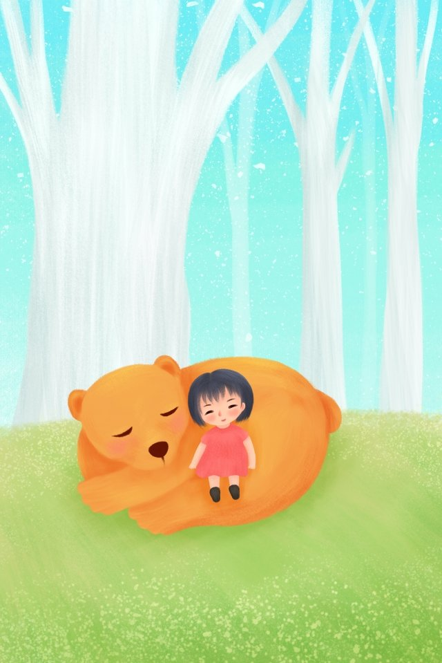hand painted illustration healing girl, Bear, Grassland, Trees illustration image