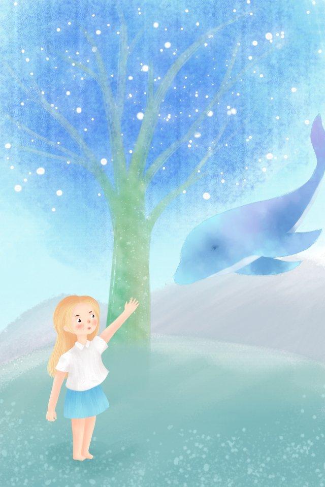 手描きイラスト日本の新鮮なイラストの女の子とクジラ 手描き イラスト 日本語 少女 クジラ 大きな木 グラスランド 夢 ブルー手描き  イラスト  日本語 PNGおよびPSD イラスト画像