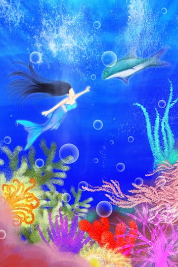 hand painted illustration mermaid deep sea, Ocean, Coral, Fish illustration image