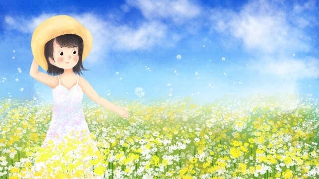 hand painted illustration midsummer flower sea, Girl, Flower, Flowers illustration image