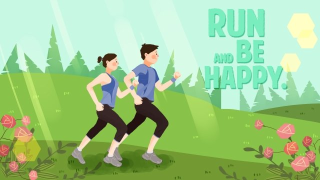 hand painted illustration morning exercise work out, Motion, Run, Spring illustration image