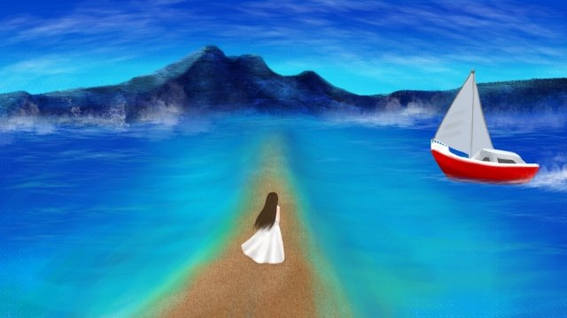 hand painted illustration ocean sea, Girl, Boat, Blue illustration image