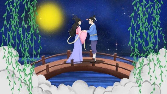 pintados à mão ilustração qixi festival romântico Material de ilustração