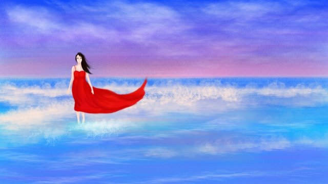 hand painted illustration sea red skirt, Girl, Sky, Ocean illustration image