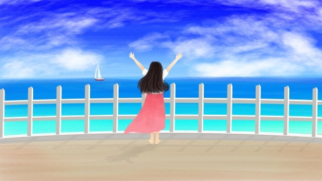 hand painted illustration seaside girl, Sea, Blue Sky, White Clouds illustration image