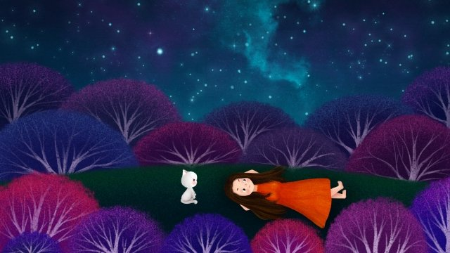 hand painted illustration starry sky girl, Night, Sky, Star illustration image