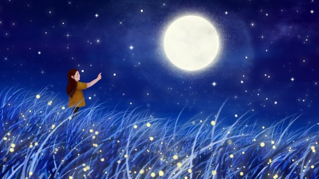 hand painted illustration starry sky moon, Night, Star, Firefly illustration image