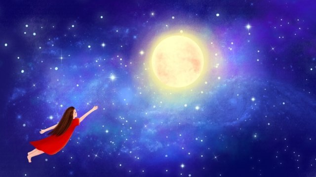 hand painted illustration starry sky night, Sky, Star, Moon illustration image