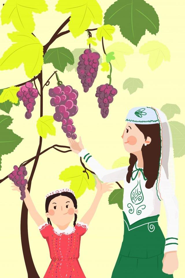 手繪插圖夏季葡萄 插畫素材