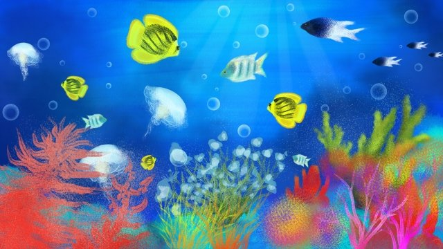 hand painted illustration underwater world coral, Jellyfish, Fish, Ocean illustration image