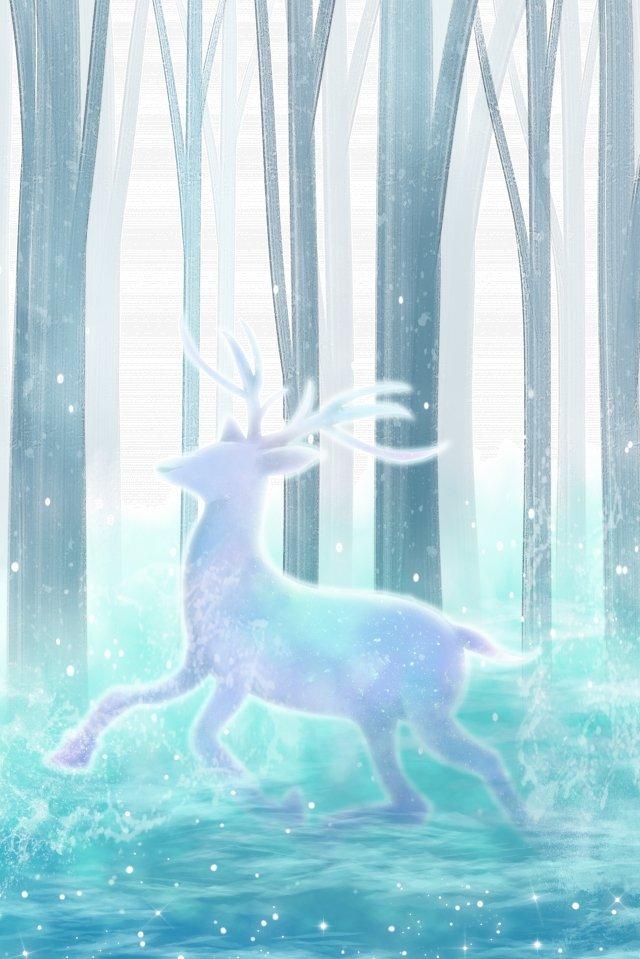 手描きの日本のイラストの森の夢の鹿 手描き 日本語 イラスト 森 夢 ランニングシカ 木々 湖水手描き  日本語  イラスト PNGおよびPSD illustration image